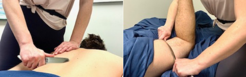 Graston Technique taking place during a massage at Calgary's MPH clinic