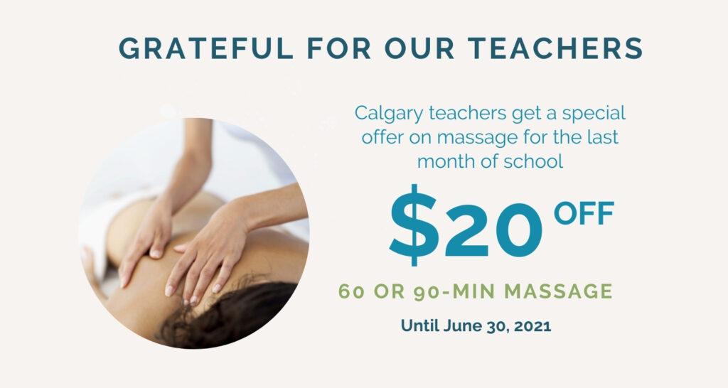 Calgary teachers save $20 on 60 or 90 minute massage