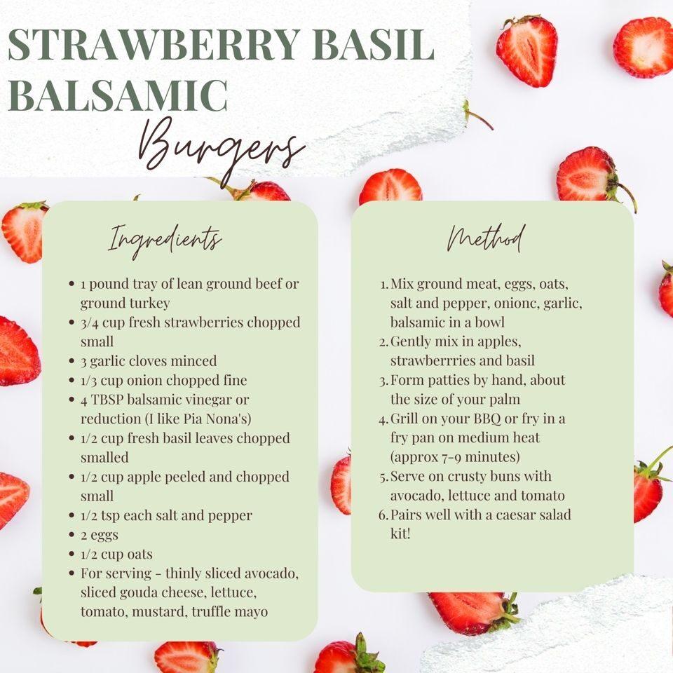 Strawberry Basil Balsamic Burger quick sheet